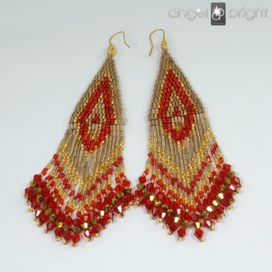Boho Earrings - Red and Gold - Gold-plated Silver