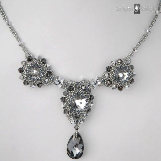 """Halskette """"Schwarzgrauer Glanz"""" — Swarovski — Silber"""