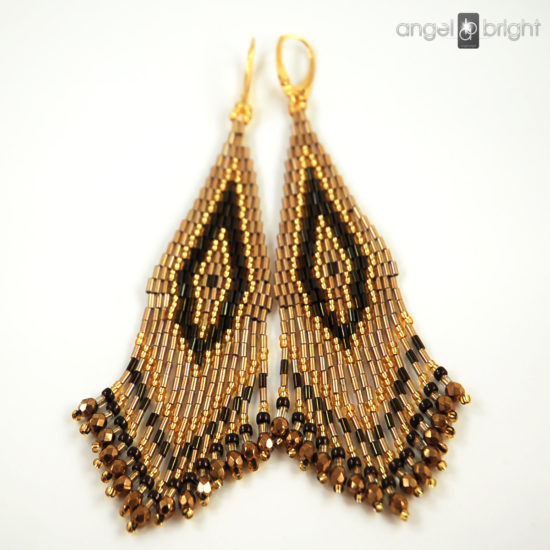 Boho Earrings - Gold and Brown - Gold-plated Silver