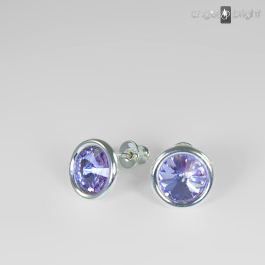 Earrings - Swarovski Studs - Violet - Sterling Silver
