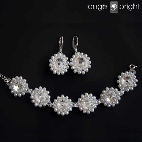 Set of Earrings and Bracelet - Swarovski Pearls – Silver