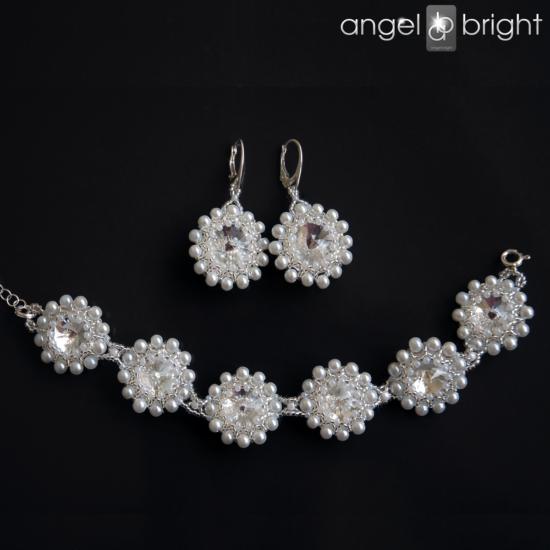 Schmuckset — 2-tlg. — Kristalle/Perlen — Swarovski — Silber