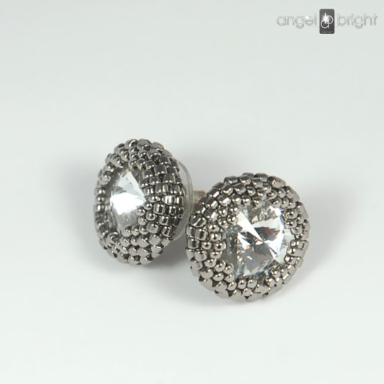 Earrings - Swarovski Studs - Beaded - Sterling Silver