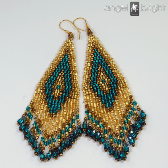 Boho Earrings - Turquoise and Gold - Gold-plated Silver