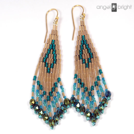 Boho Earrings - Gold and Turquoise - Gold-plated Silver