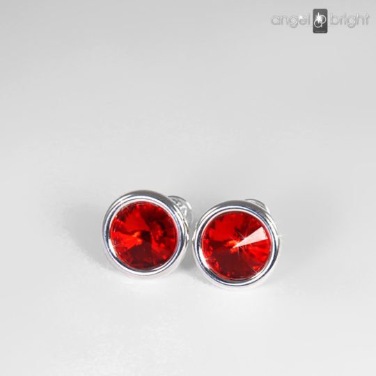 Earrings - Swarovski Studs - Red - Sterling Silver