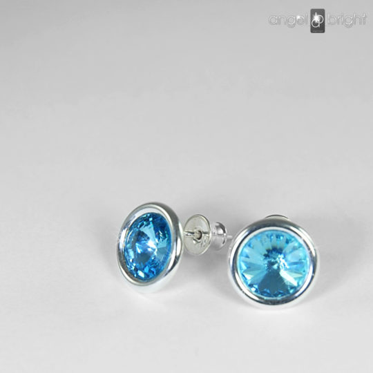 Earrings - Swarovski Studs - Blue - Sterling Silver