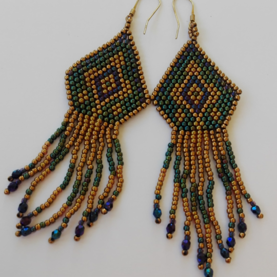 Boho Earrings - Emerald Green with Gold - Gold-plated Silver