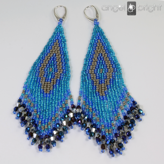 Boho Earrings - Blue and Silver - Sterling Silver