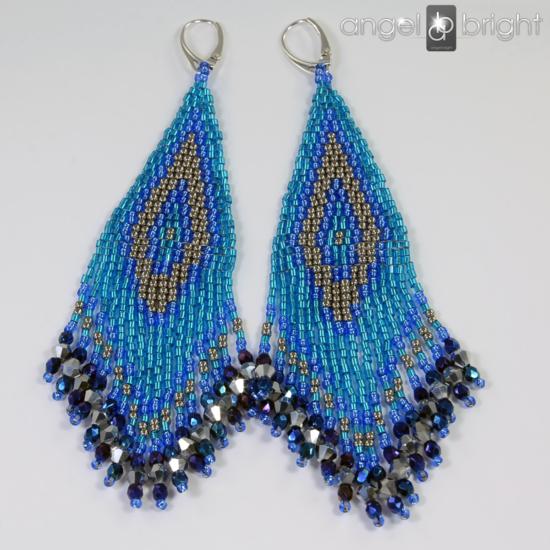 BOHO-Ohrringe — Silbern/Blau