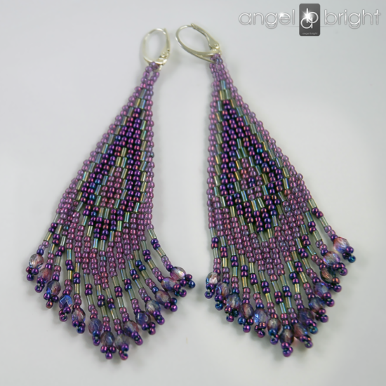 Boho Earrings - Violet and Graphite - Sterling Silver