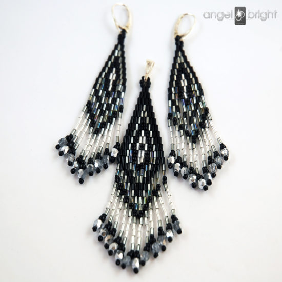 Boho Earrings and Pendant - Silver and Black - Sterling Silver