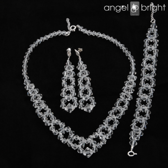"Set ""Crystal Diamonds"" – necklace, bracelet and earrings – Sterling Silver"