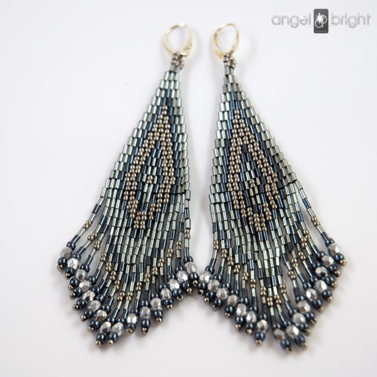 Boho Earrings - Silver and Gray - Sterling Silver