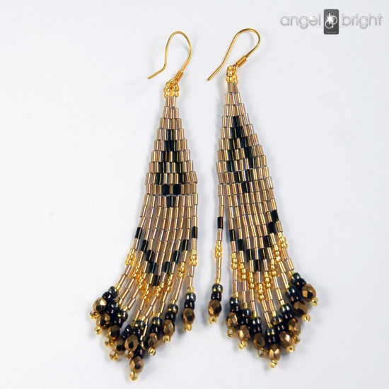 Boho Earrings - Brown and Gold - Gold-plated Silver