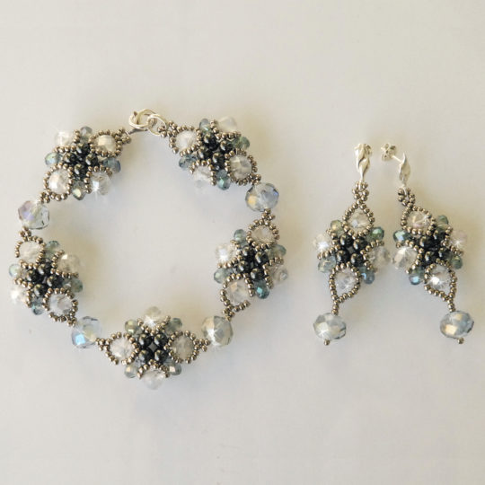 Crystal Set of Earrings and Bracelet – Silver and Graphite – Sterling Silver
