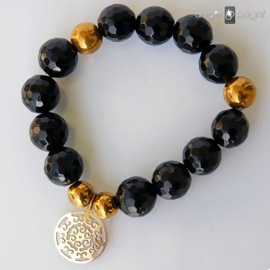 Bracelet Onyx Celebrity Charms- Silver Plated
