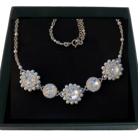 Necklace Swarovski Pearls – Silver