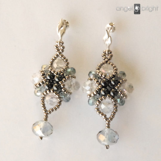 Crystal Earrings - Silver and Graphite - Sterling Silver