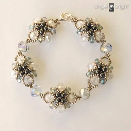 Crystal Bracelet – Silver and Graphite – Sterling Silver