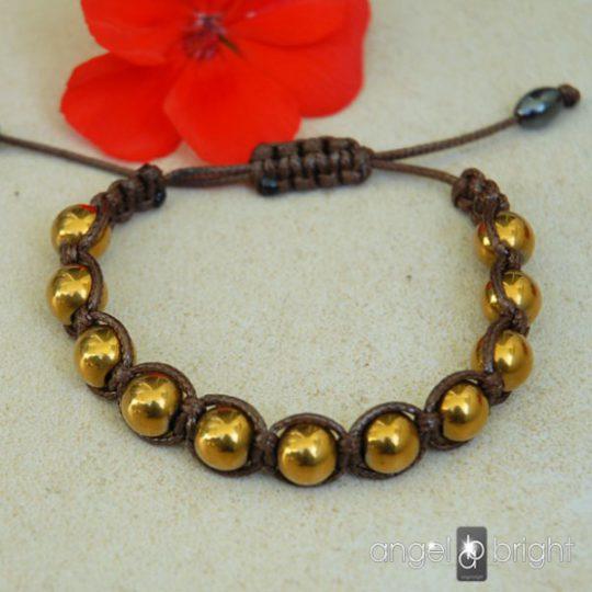 Bransoletka typu SHAMBALLA- Kamień Hematyt Złoty