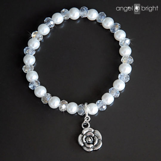 Bracelet Crystals and Pearls -Charms Flower