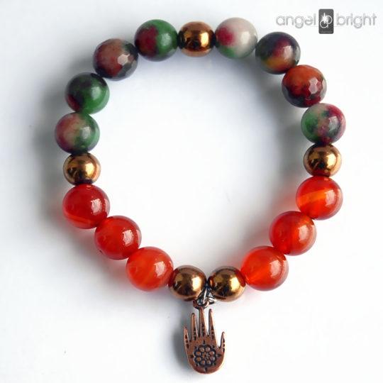 Bracelet FATIMA - Carnelian, Jade, Hematite