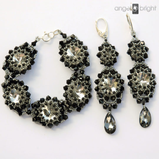 "Set ""Black & Crystal"" earrings and bracelet – Swarovski – Silver"