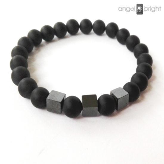 Men's Bracelet - Matte Onyx and Hematite
