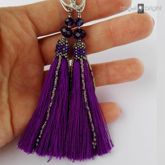 Cерьги-кисточки длинные БОХО фиолетовые