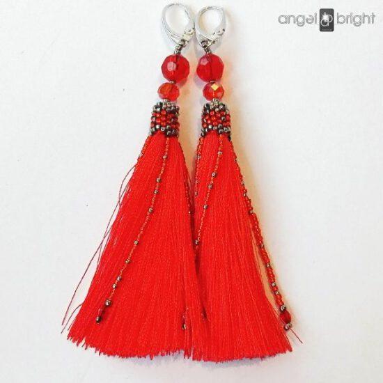 Long Earrings BOHO - Red Tassels - Sterling Silver