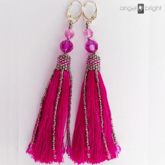 Long Earrings BOHO - Pink Tassels - Sterling Silver