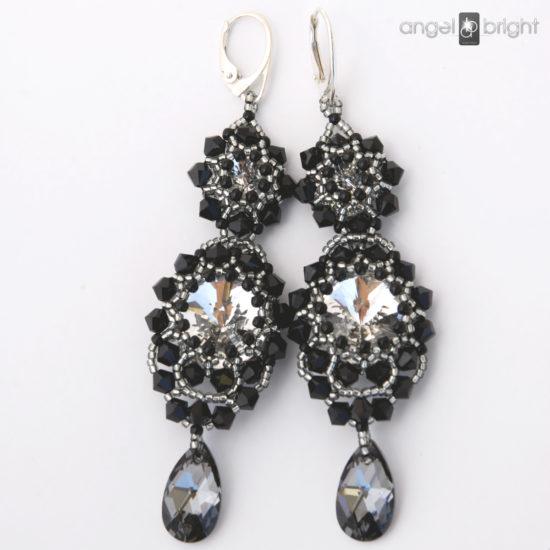 Pendientes Largos 'Black & Crystal' - Swarovski - Plata