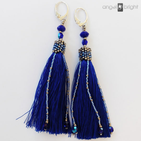 Long Earrings BOHO - Cobalt Tassels - Sterling Silver