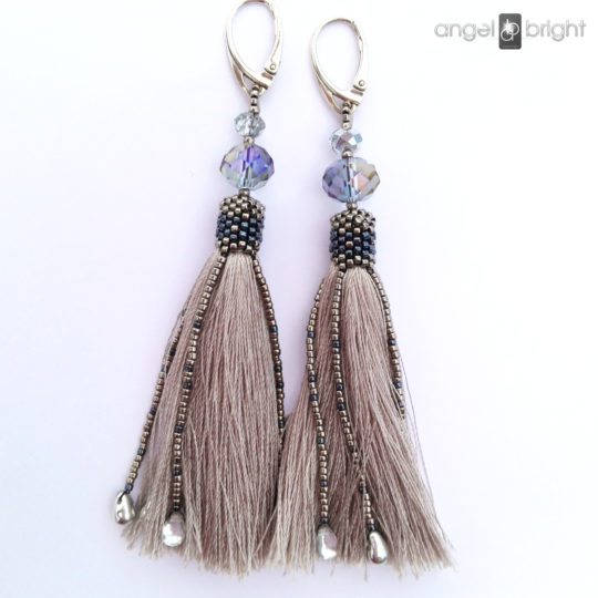 Long Earrings BOHO - Gray Tassels - Sterling Silver