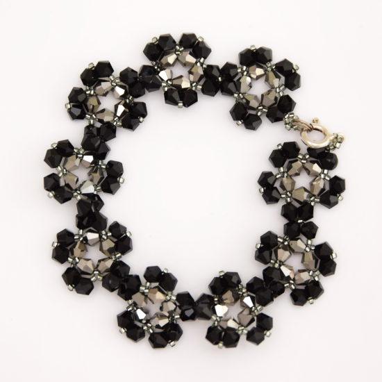 Pulsera de Flores Negro-Plata de Cristal - Plata