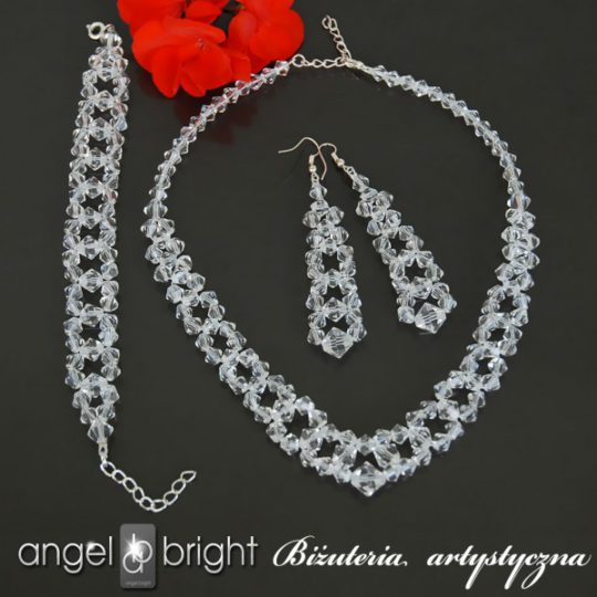 "Set ""Crystal Diamonds"" – necklace, bracelet and earrings – Silver Plated"