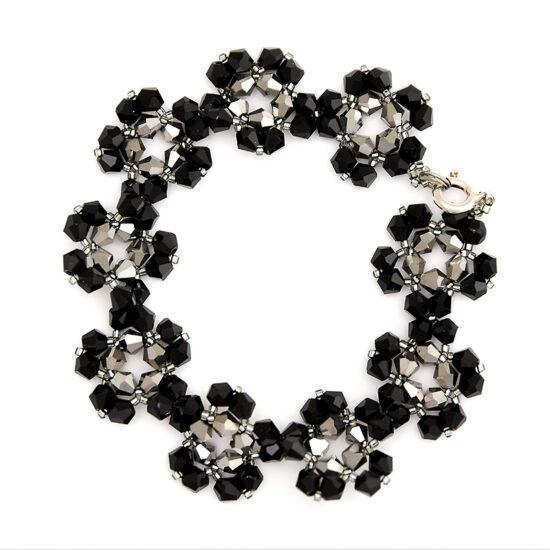Bracelet – Black and Silver Flowers – Sterling Silver
