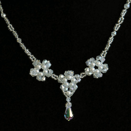 Necklace Pearl Crystal- Sterling Silver