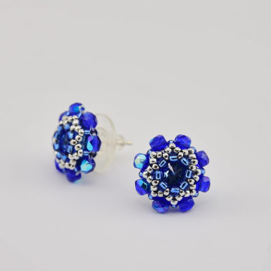 Earrings - Swarovski Studs - Cornflowers - Sterling Silver