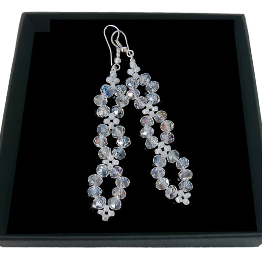 Crystal Earrings AB - Silver-plated