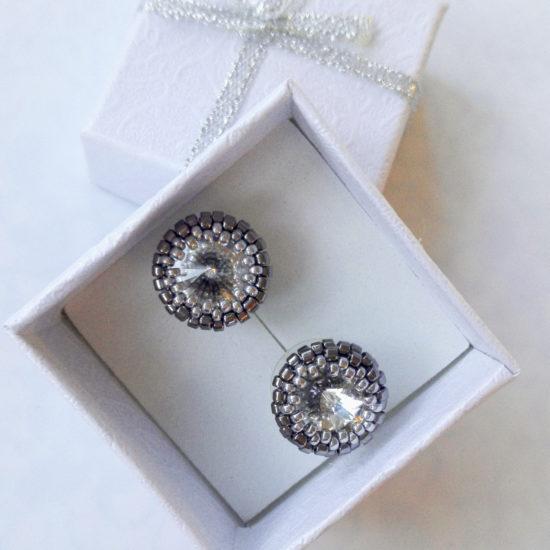 Earrings - Swarovski Studs - Beaded - Dark Silver