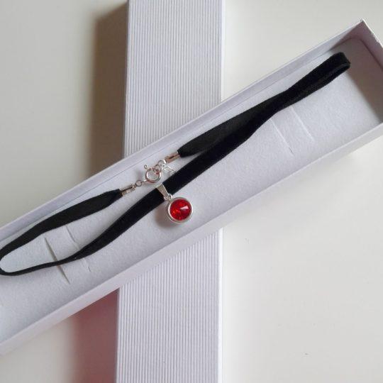 Чокер красный – Swarovski – серебро