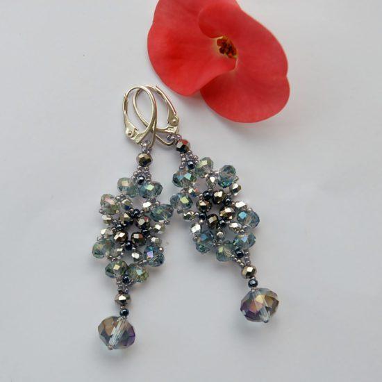 Ohrringe — Schwarzgraue/Silberne Kristalle — Silber
