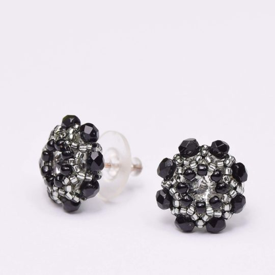 Earrings - Swarovski Studs - Black Flowers - Sterling Silver