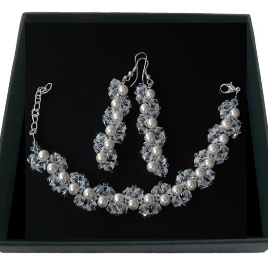 Комплект серьги, браслет кристально-жемчужные