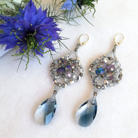 Earrings Crystal Blue - Swarovski - Sterling Silver