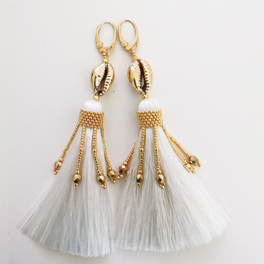 Long Earrings BOHO - Black Tassels GOLD  (Kopia)