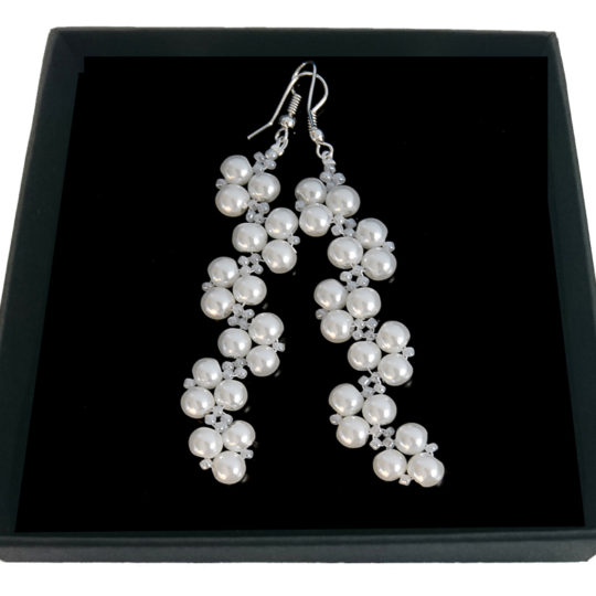 Braided Pearl Earrings - Silver Plated