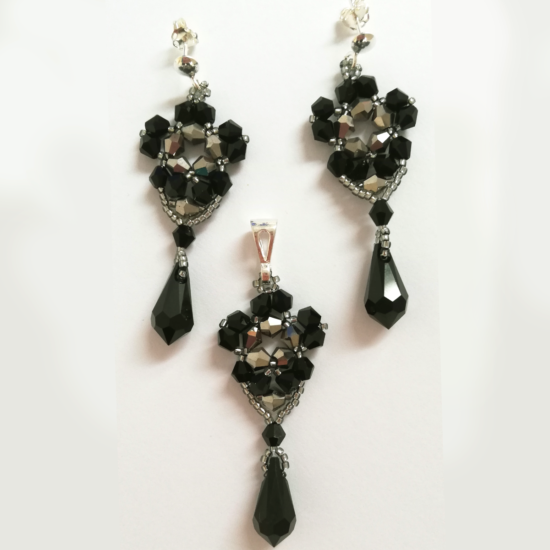 Set Earrings and Pendant - Black and Silver Flowers - Sterling Silver